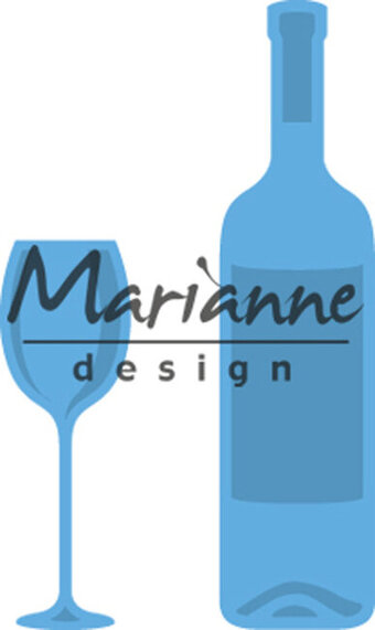 Wine Bottle and Glass - Marianne Design Creatables Die