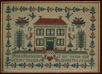 Red Roof House Sampler - Cross Stitch Pattern