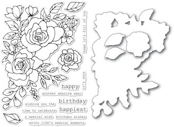 Birthday Rose Corner - Clear Stamp and Die Set