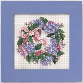 Hydrangea Wreath - Beaded Cross Stitch Kit