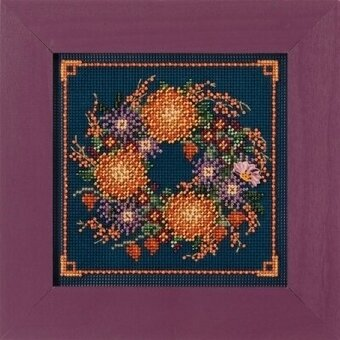 Mum Wreath - Beaded Cross Stitch Kit