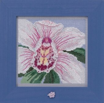 White Orchid - Beaded Cross Stitch Kit