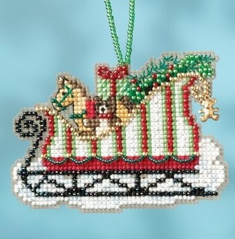 Toyland Sleigh - Beaded Cross Stitch Kit