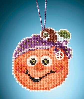 Hippie Pumpkin - Beaded Cross Stitch Kit