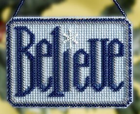 Believe Winter Greeting - Beaded Cross Stitch Kit