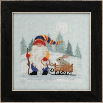 Sledding Gnome - Beaded Cross Stitch Kit