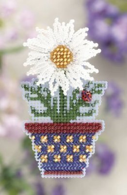 White Daisy - Beaded Cross Stitch Kit