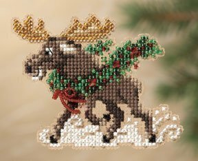 Merry Moose - Beaded Cross Stitch Kit