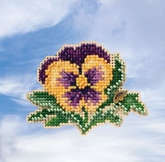 Tricolor Pansy - Beaded Cross Stitch Kit