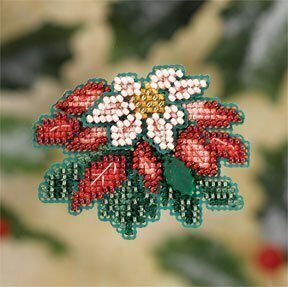 Pink Pointsettia - Beaded Cross Stitch Kit
