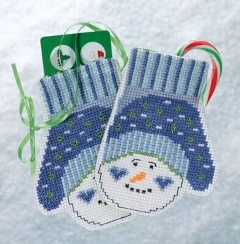 Snowman Mittens - Beaded Cross Stitch Kit