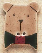Debbie Mumm Brown Teddy Bear with Red Bow Button