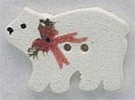 Christmas Polar Bear Button