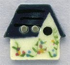 White Birdhouse Button