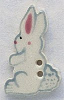 White Tall Rabbit - Facing Left Button