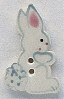 White Tall Rabbit - Facing Right Button