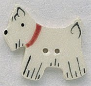 White Scottie Facing Left Button