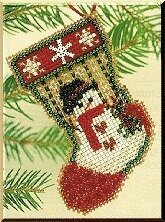 Snowman Stocking - Beaded Cross Stitch Kit