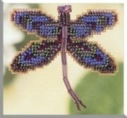Royal Mauve Dragonfly - Beaded Cross Stitch Kit