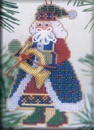 French Horn Santa - Beaded Cross Stitch Kit
