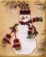 Mitten Snow Charmer - Beaded Cross Stitch Kit