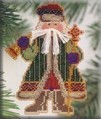 Bell Ringer Santa - Beaded Cross Stitch Kit