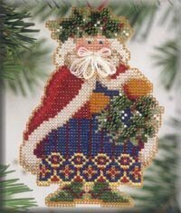 Holly & Ivy Santa - Beaded Cross Stitch Kit