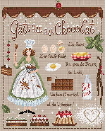 Gateau au Chocolat (Chocolate Cake) - Cross Stitch Pattern