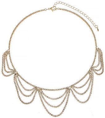 Tiered Draped Rhinestone Necklace - Gold