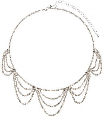 Tiered Draped Rhinestone Necklace - Silver