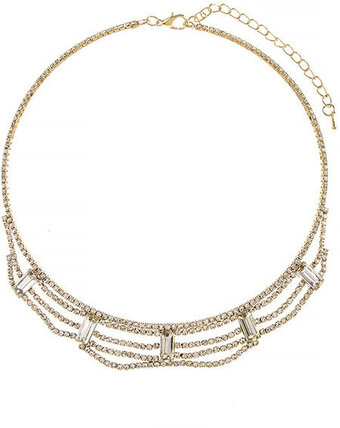 Crystal Baguette Draped Bib Necklace - Gold