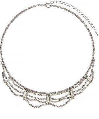 Crystal Baguette Draped Bib Necklace - Silver