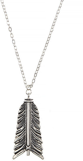 Etched Arrow Tip Pendant Necklace - Silver