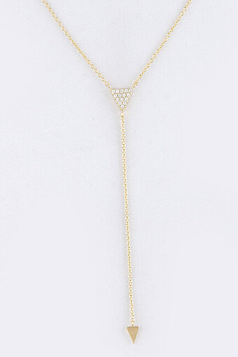 Pave Cubic Zirconia Triangle Pendant Y Necklace - Gold