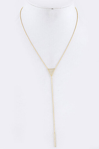 Pave Cubic Zirconia Triangle Bar Pendant Necklace - Gold