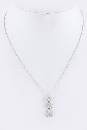Pave Cubic Zirconia Triple Round Pendant Necklace