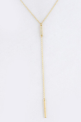 Cubic Zirconia Lined Bar Pendant Y Necklace - Gold