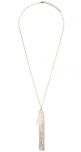 Natural Stone Tassel Pendant Necklace - White