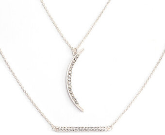 Rhinestone Bar and Moon Necklaces - Silver