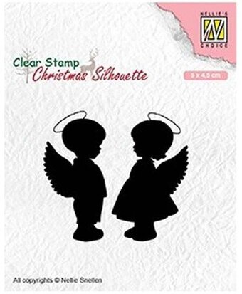 Christmas Silhouette.Angel Girl And Boy Christmas Silhouette Clear Stamp