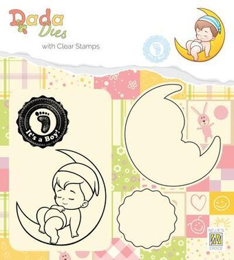 Its A Boy On The Moon - Dada Stamp and Die Set