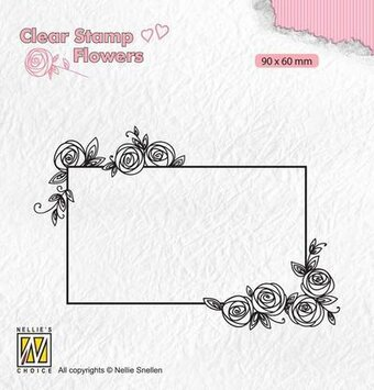 Rectangle Frame With Roses - Clear Stamp