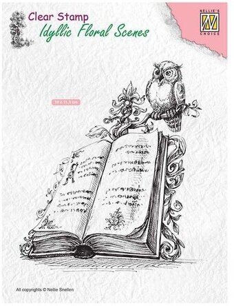 Book with Owl - Nellie's Choice Clear Stamp