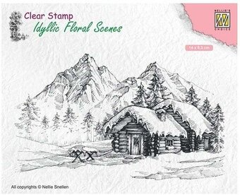 Snowy Landscape with Cottage - Nellie's Choice Clear Stamp