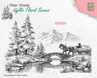 Horse and Cart - Idyllic Floral Scene - Clear Stamp