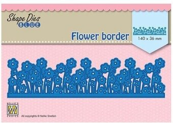 Blue Flower Border - Nellie's Choice Shape Dies