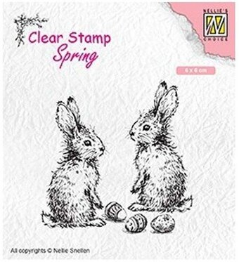 Spring Two Hares - Nellie's Choice Clear Stamp