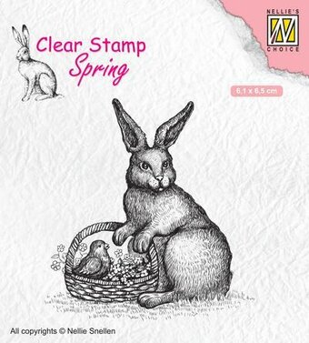 Spring Easter Hare with Basket - Clear Stamp