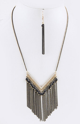 Chevron Beaded Fringe Colored Chain Necklace Set - Black