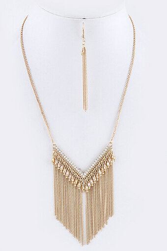 Chevron Beaded Fringe Colored Chain Necklace Set - Gold